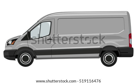 Side of the light commercial vehicle on a white background