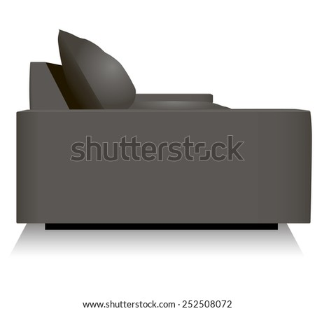 Side panel sofa, side view. Vector illustration. - stock vector