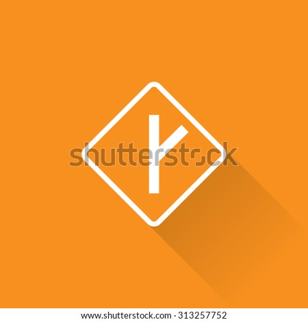 Side Road At Angle Right Sign - stock vector