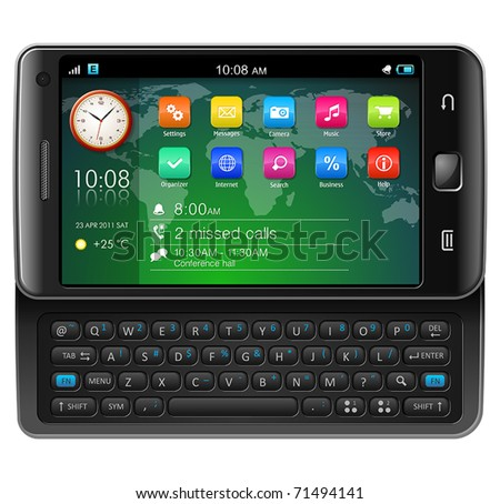 Side slider touchscreen smartphone - stock vector
