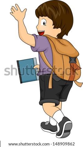 Side View Illustration of a Kid Boy with Backpack Waving his hands - stock vector