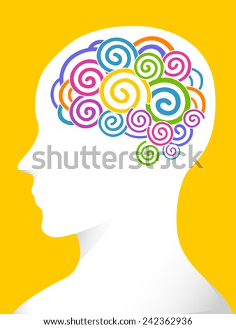 Side View Illustration of a Man With Swirls of Various Colors in His Brain - stock vector