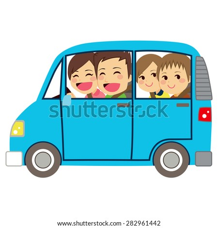 Side view illustration of cute happy family of four members on car minivan - stock vector