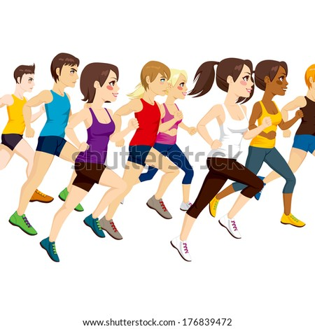 Side view illustration of group of athletes running on marathon competition - stock vector