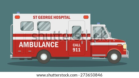 Side view of a medical vehicle. Ambulance vector illustration. - stock vector