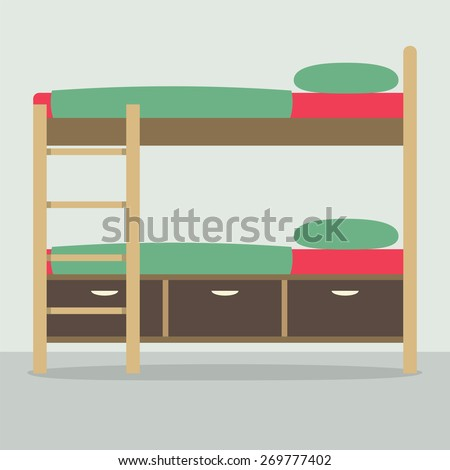 Side View Of Bunk Bed On Floor Vector Illustration - stock vector