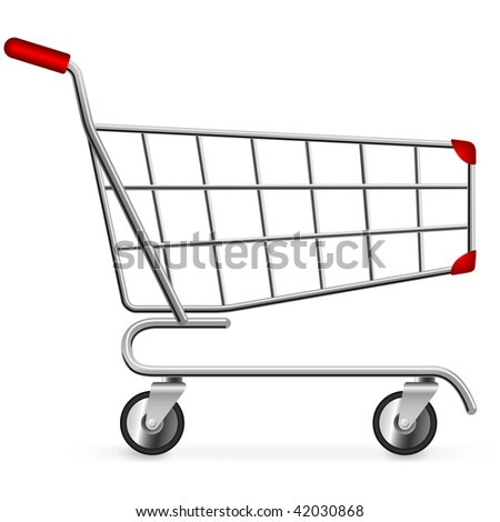 Side view of empty shopping cart isolated on white background. - stock vector