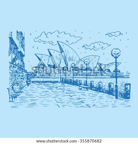Side view of the Sydney Opera House in Sydney, Australia. Vector freehand pencil sketch. - stock vector