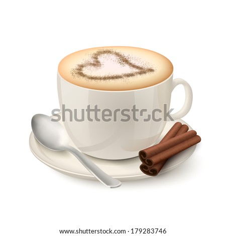 Side view on realistic beige cup filled with coffee and cream decorated by a cinnamon pattern in the form of heart vector illustration - stock vector