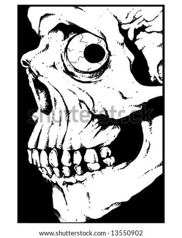 side view skull - stock vector