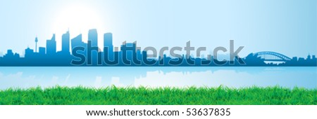 sidney city reflections on watter - stock vector