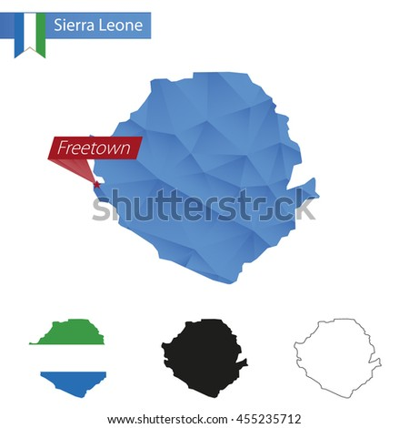 Sierra Leone blue Low Poly map with capital Freetown, versions with flag, black and outline. Vector Illustration. - stock vector