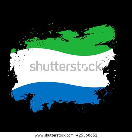 Sierra Leone Flag grunge style on  black background. Brush strokes and ink splatter. National patriotic symbol - stock vector