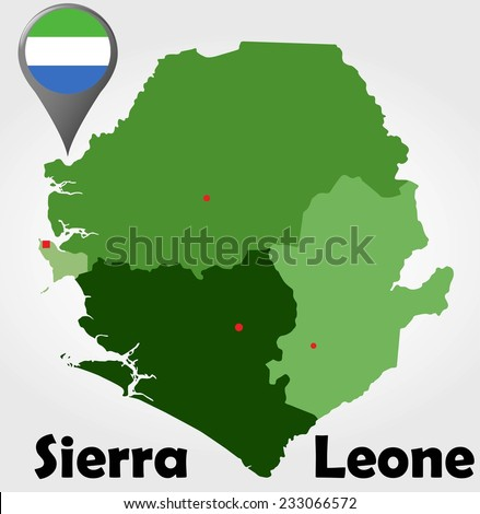 Sierra Leone political map with green shades and map pointer. - stock vector