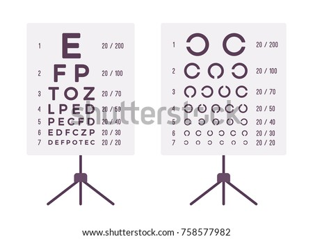 Sight Check Table Eye Chart Test Stock Vector Royalty Free