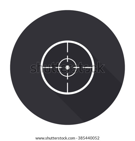 sight icon with long shadow - vector round button