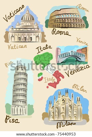 Sights of Italy drawn in watercolours style. - stock vector