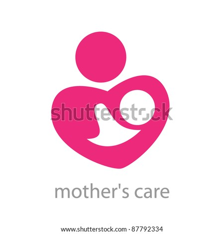 Sign - a mother's care. The symbol of parental love. Vector template. - stock vector