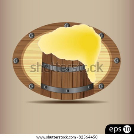 Sign a tavern with a barrel of beer on white background - stock vector