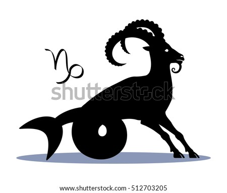 Sign Capricorn Zodiac Horoscope Illustration Silhouette Stock Vector