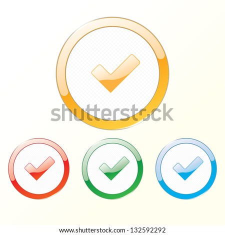 sign checkbox in the round frame. eps10 - stock vector