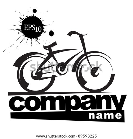 sign company. bike. freehand drawing. black and white vector illustration
