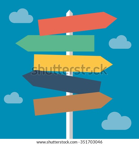 Sign directions post cloudy day / destination / decisions / questions / life - stock vector