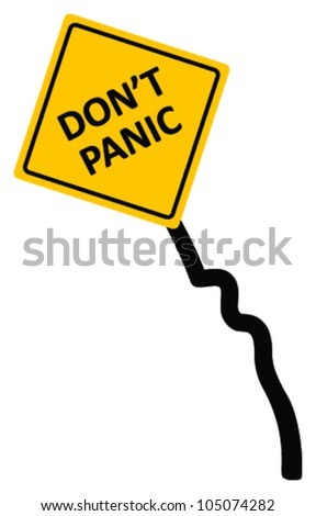 "Sign ""don't panic area"" bended and wrecked, vector - stock vector"