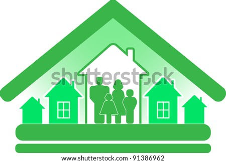 sign ecology construction cottage with houses and family silhouette - stock vector