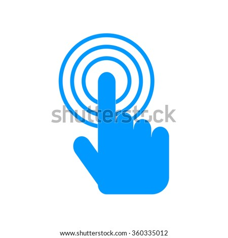 Sign emblem vector illustration. Hand with touching a button or pointing finger - stock vector