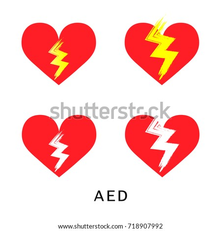 Sign Aed Automated External Defibrillator Isolated Stock Vector