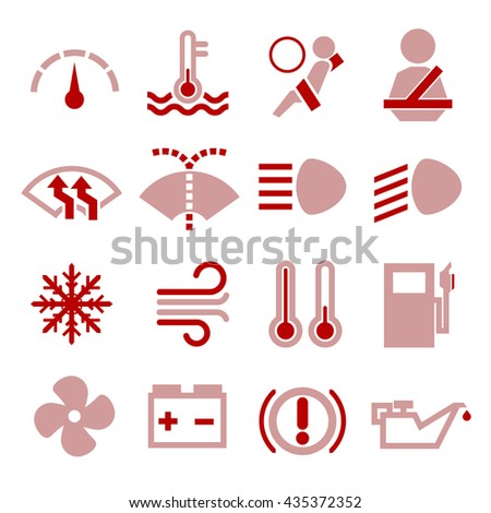sign in car icon set - stock vector