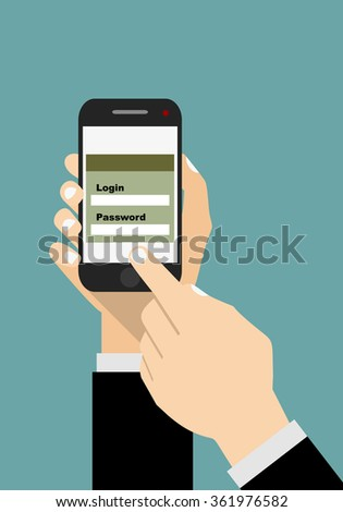 Sign in page on smartphone screen. Hand hold smartphone, finger touch sign in button. Mobile account. Modern concept for web banners, web sites, infographics.