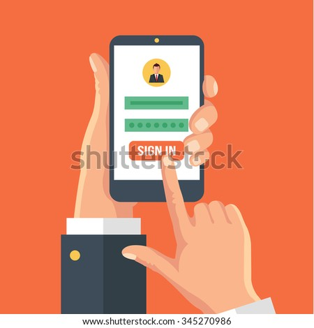 Sign in page on smartphone screen. Vector flat illustration - stock vector