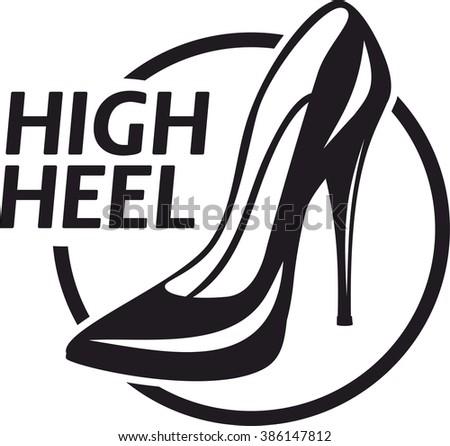 Simple Logo Ladies Classic High Heel Stock Vector
