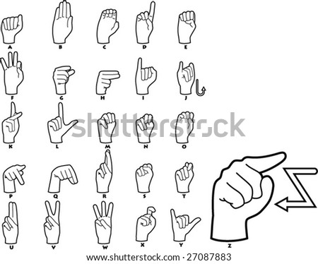 Sign Language Alphabet - vector illustrations