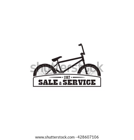 Sign,logo,  emblem for sale, service bicycle. - stock vector