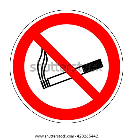 Sign no smoking. No smoke red prohibition plane icon isolated on white background. Stop cigarette label print. Forbidden tobacco image. Not allowed smoker flat symbol. Stock vector illustration - stock vector