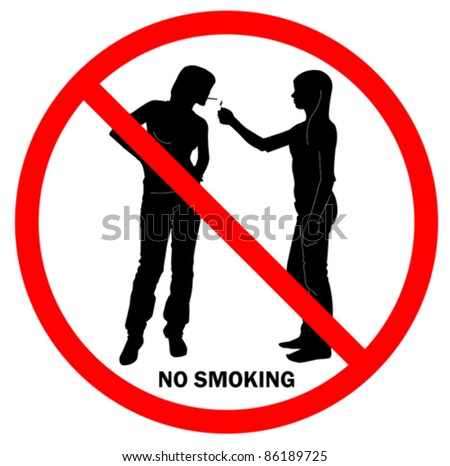 Sign NO SMOKING with two young ladies in red round