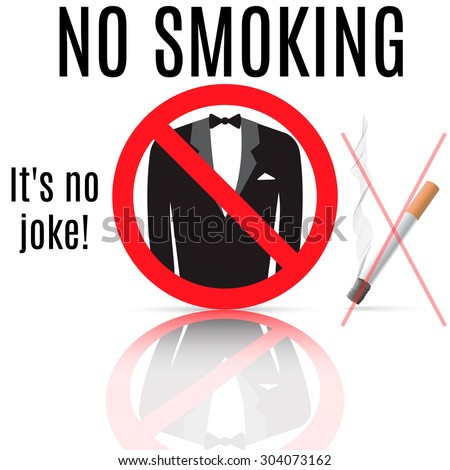 "Sign of banning smoking, which shows a play on words ""no smoking"". - stock vector"