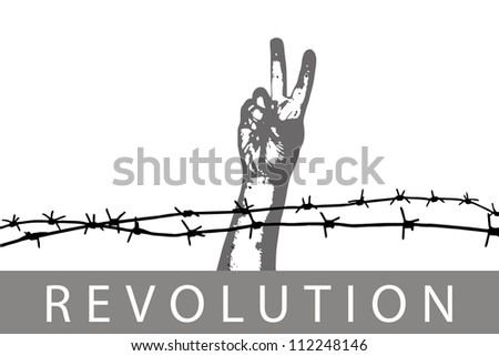 Sign of peace through the barbed wire - stock vector