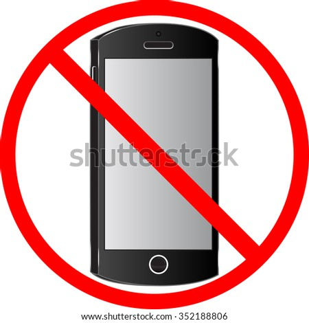 Sign of prohibition of the use of cell phones and mobile devices.