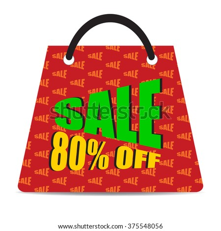Sign of Sale 80% off with red bag. Special Offer. Discount Price Tag.