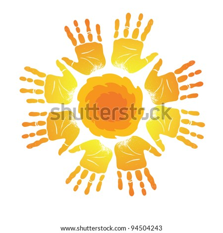 Sign of  silhouettes of palm prints in form of  sun