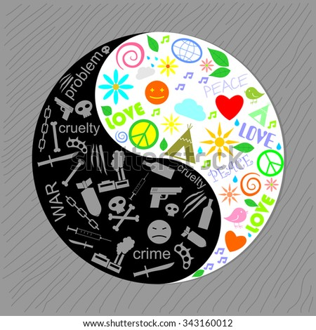 Sign of the harmony of yin yang. The sign of harmony in the form of yin and yang of the various semantic silhouettes.  - stock vector
