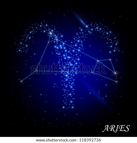 Sign of the zodiac - Aries. Composed of stars. - stock vector