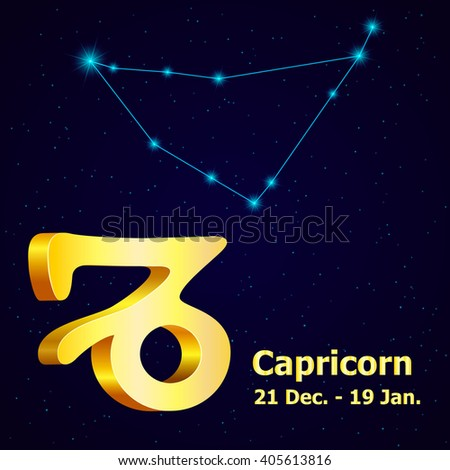 Sign of the zodiac Capricorn is the starry sky, vector Illustration. - stock vector