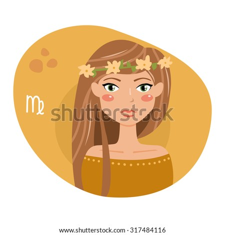 Sign of the zodiac. Horoscope. Astrology. Vector isolated illustration. Cartoon characters. Virgo