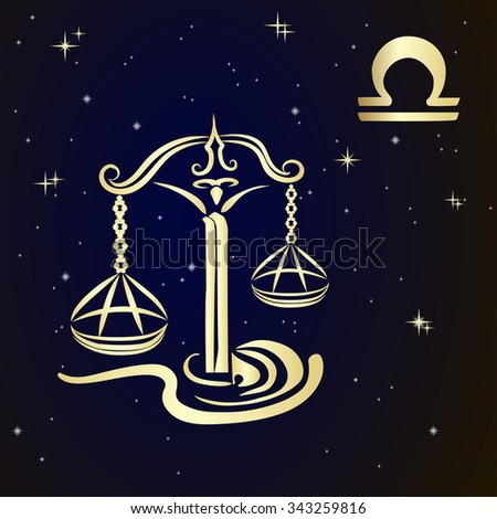 Sign of the zodiac LIBRA is the starry sky, vector Illustration.   - stock vector