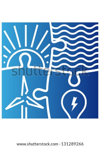 Sign of various ways to produce energy - stock vector
